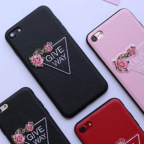 Phone Case & Hülle Für iPhone 6 Plus & 6s Plus Stickerei Blumenmuster PU + TPU + PC Material Schützende Rückseite Fall ( Color : Black ) Pink
