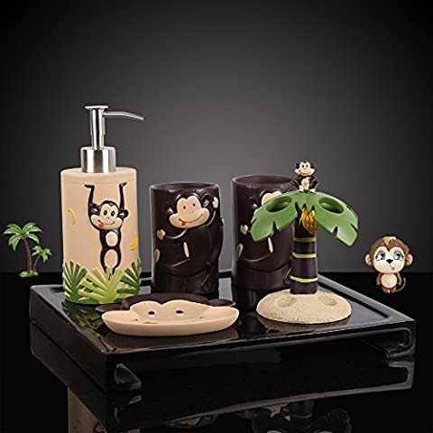 HJKY bathroom accessories set Creative monkeys bathroom vanity sets bath kit with five Toilet brush holder brushing cup kit beaker, the Monkey Forest + Black anti-edge of the