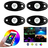 RGB LED Kit Lumiere Rock avec Controleur Bluetooth, Fonction de Chronometrage, Mode Musique - 4 Gousses Multicolor Neon LED Light Kit Impermeable A L'eau pour JEEP SUV etc. (RGB)