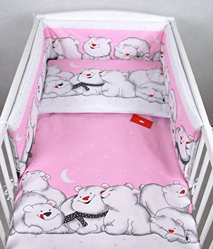 BABYLUX Kinderbettwäsche 2 Tlg. 90 x 120 cm Bettwäsche Bettset Babybettwäsche (82. Eisbär Rosa) (Elefanten Baby Mädchen Bettwäsche-sets)