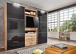 lifestyle4living Kleiderschrank in Plankeneiche-Dekor - Außentüren in Glas Grau, Schwebetüren-Schrank mit 4 Schubkästen und drehbarem TV-Element, 300 cm