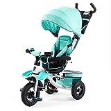 Dreirad Baby Dreirad Fahrradsitz Lenk Kinder Pedicab Kutsche 3 Räder Kinder ( Farbe : Blau )