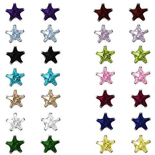 Pierre porte-bonheur en argent sterling Clous Forme étoile oxyde de zirconium 4mm noir