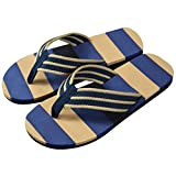Tefamore Men Summer Stripe Flops Shoes Sandals Male Slipper (7, Blue)