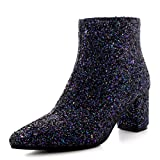 Damen Chelsea Spitze Block-Ferse Funkeln Abend Mode Elegant Stiefelett - Funkeln - UK6/EU39 - YE0066