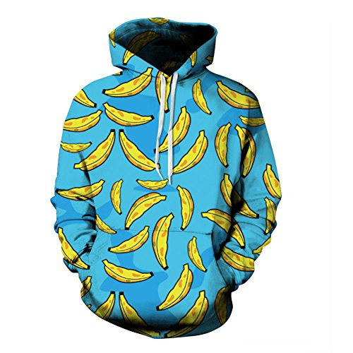 Erwachsene Banana Hoodie (KKYLOVEJ Unisex Bananen-3D-Druck Kordelzug Sport-Kapuzenpulli Lange Ärmel Atmungsaktiv Leicht Pullover mit großen Taschen Zum Mens und Frauen (S M L XL 2XL 3XL) , banana ,)