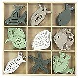 Deko Fische Muschel Seestern Holz grün grau sortiert 36 Stück zum Streuen