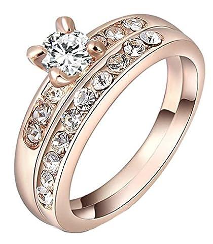 Epinki Damen Vergoldet Ringe, 2 Stücke Verlobungringe Antragsring Partnerringe Set Rose Gold Rundschliff mit Zirkonia (Kostüm Farbige Kontakte Günstige)