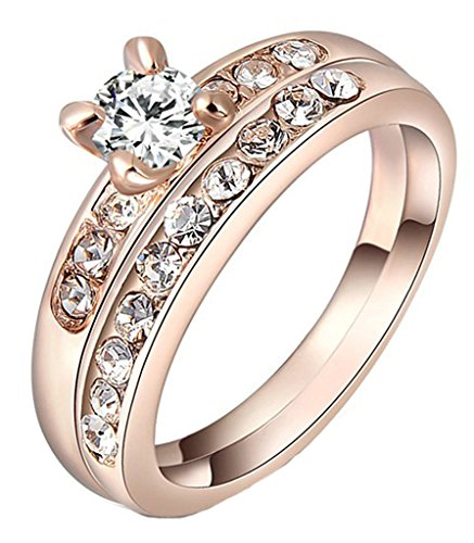 Gold Plated Ring, Round Cut Cubic Zirconia CZ Engagement Wedding Ring Set For Women-Rose Gold Size J 1/2