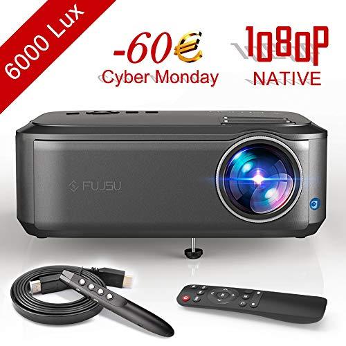 Beamer, Video Projektor 1080P Full HD Native +80{f47baeec8ed6c3912e594185623c02ec5c758322642f5b2548212d4d136e9afd} Helligkeit LED 50,000 Stunden für Office Powerpoint Präsentationen Heimkino unterstützt HDMI VGA Y.Pb.Pr AV USB Geräte