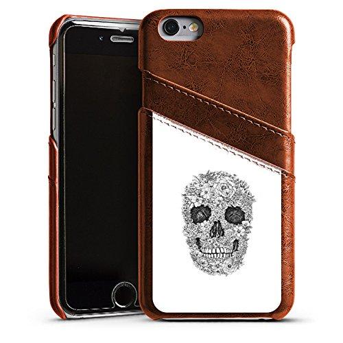 Apple iPhone 4 Housse Étui Silicone Coque Protection Tête de mort Fleurs Rétro Étui en cuir marron
