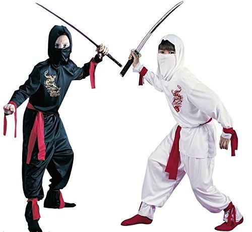 Fancy Me Jungen 5 Stück schwarz oder weiß Ninja Buch Tag Halloween Orientalische Kostüm Kleid Outfit - Weiß, 8-10 Jahre