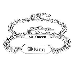 Gutcandie ein Paar Damen Herren Pärchen Armbänder silber, Edelstahl Panzerarmband mit Zirkonia Gravur His Queen undHer King (king queen)