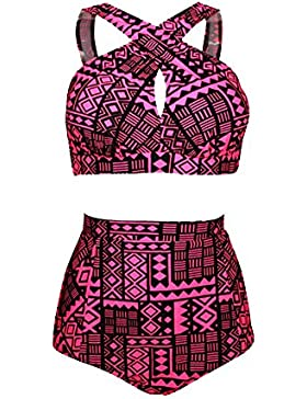 Bikini Impresión Traje De Baño Bañador Mujer De Dos Piezas De Talla Grande Ropa De Baño Con Talle Alto Rojo 3XL