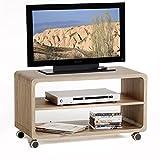 TV Rack Beistelltisch Lowboard Couchtisch Wohnzimmertisch MIAMI, 1 Regalboden, 4 Doppelrollen, in Sonoma Eiche