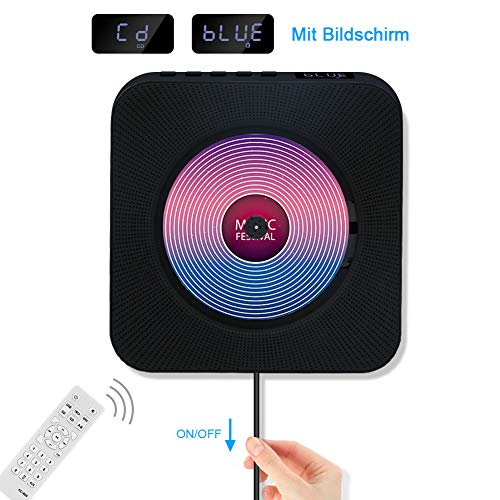 Jimwey CD Player Bluetooth HiFi Lautsprecher Portable Home Audio Wandmontage FM Radio MP3 mit Schlaf-Timer LED Display USB Eingang Fernbedienung 3,5mm AUX Kopfhörer Buchse Schwarz
