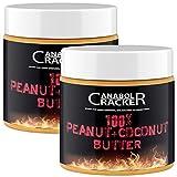 2X 100% Peanut + Coconut Butter, 500g Dose, Kombination Erdnüssen und Kokosnuss, ohne Zucker, ohne Zusätze, Erdnussmus ohne Salz, Öl oder Palmfett