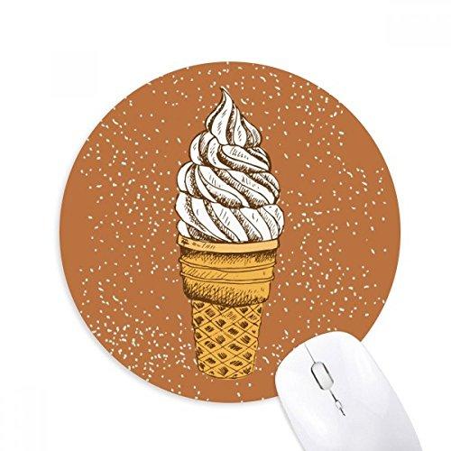 DIYthinker Sahne, Schokolade, Ei-Kegel-Eiscreme Runde Griffige Gummi Mousepad Spiel Büro Mauspad Geschenk
