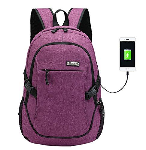 Super Modern Unisex Nylon-Rucksack mit USB-Ladegerät-Port, Laptoptasche für Mädchen, Sport-Rucksack Größe L violett