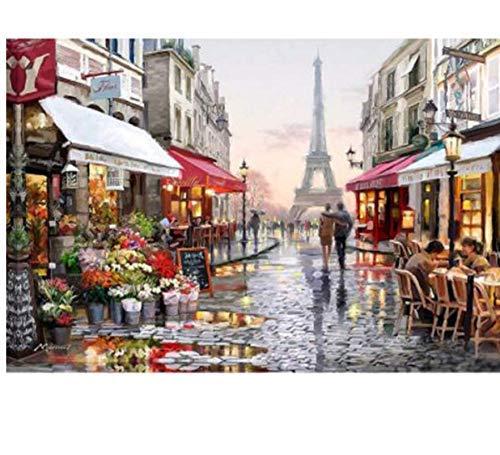 W-S Stammbaum Basteln Diamant Stickerei Kits DIY 5D Diamant Malerei Mosaik Muster Bild von Strass Kristalle Eiffelturm 30X40 cm -