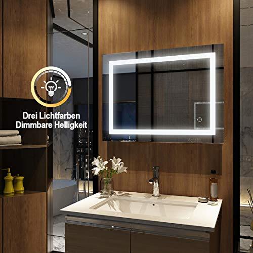 EMKE Badspiegel mit LED Beleuchtung 80x60cm, Badezimmerspiegel Wandspiegel dimmbar mit Touch, Beschlagfrei (Modell 5)