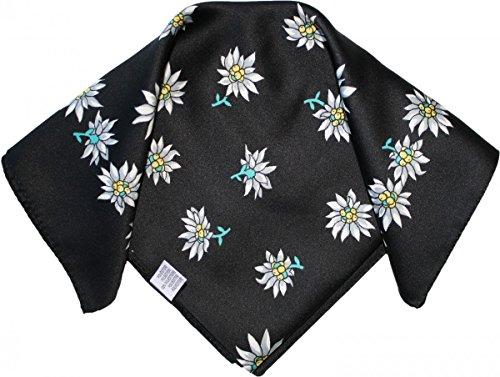 Halstuch Trachtentuch Polyester Edelweiss-muster nikituch 50x50cm 11x Farbtöne, Frabe:Schwarz