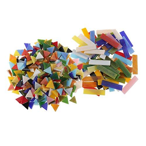 MagiDeal 370pcs Morceaux Mosaïque de Verre Carreaux Mosaïque Triangle pour Arts DIY Artisanat 10 x 40 mm