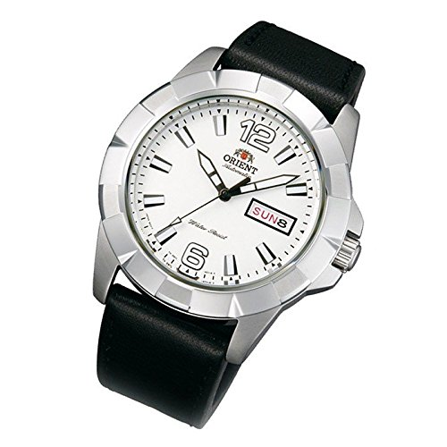 Orient men's wristwatch, sporty, automatic, white, day, date, leather strap EM7L007W9