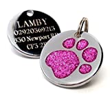 Personalised Engraved 25mm Glitter Pink Paw...