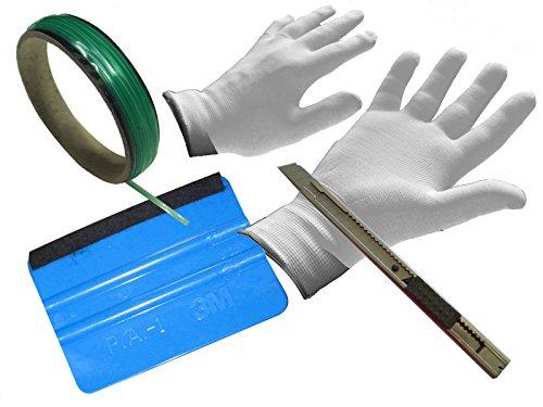 Auto Folien Profi CarWrap Set 3M Rakel +Handschuhe +Metall Cutter +KnifelessTape (Metall-rakel)