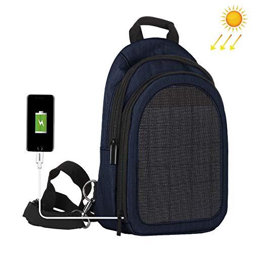 Solar-Laptop-Rucksack, Chshe TM, Herren Multifunktions-Laptop-Rucksack Mit 5-Watt-Solarpanel, Usb-Ladeanschluss, Computerreisetasche(Marine) 5w Marine