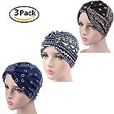 ZYCC Frauen Elegant Floral gefaltet indischen Turban Hut Chemo Krebs Cap Sleep Cap Packung mit 3 (Set 2)