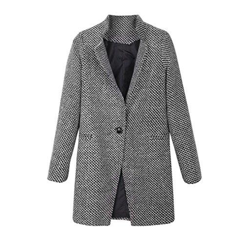 DoraMe mujeres adelgazan el abrigo invierno chaqueta parka gabardina capa solapa lanas calientes (XL, negro)