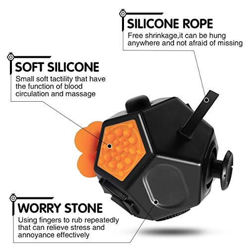 Fidget Toy Cube Relieves Stress and Anxiety for Children and Adults (Dice II – Black) - 4