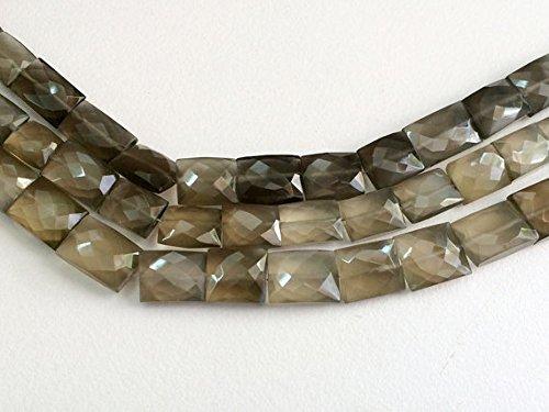 1 Mèche Gris naturel Pierre de Lune à facettes Chewing Gum Cut, perles, gris pierre de lune Collier 9 x 10 mm – 12 x 16 mm env., 10,2 cm
