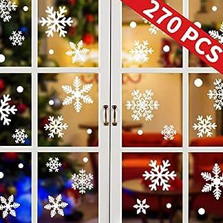UMIPUBO Pegatinas de Ventana de Navidad 270PCS Pegatinas de Copo de Nieve Fabuloso Pegatinas Pared Estáticas de PVC para Navidad Decoraciones