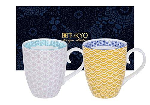 TOKYO design studio, Star Wave, 2 Tassen Set in dekorativer Geschenkbox, Porzellan Geschirr, 380ml