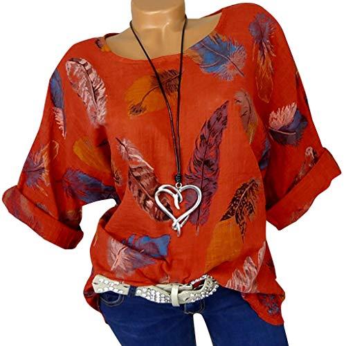 Blumendruck Strand Lose Bluse Sommer Frauen Plus Size Feater Print Hülse Mit DREI Vierteln Oansatz Pullover Tops Shirt