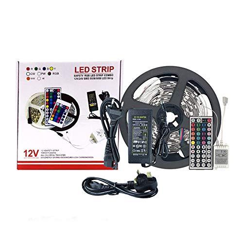Tiras LED 5M RGB 5050 SMD 300Leds Multicolor con Control Remoto IR para iluminación del hogar Cocina Decoración de Navidad