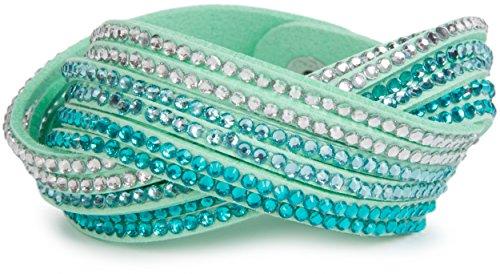 styleBREAKER weiches Strass Armband, eleganter Armschmuck mit Strassteinen, Wickelarmband, 6x1-Reihig, Damen 05040005, Farbe:Mint/Blaupetrol-Hellblau-Klar