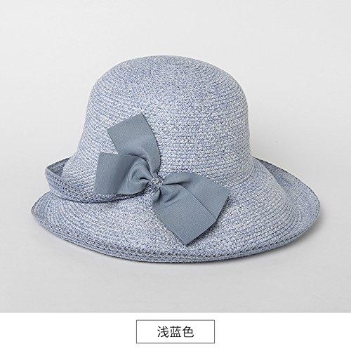 LLZTYM Chapeau/Femme/Jeunesse/Été/Voyage/Vacances/Chapeau De Plage/Pliage/Chapeau/Paille/Cadeau/Tête/Chapeau Blue