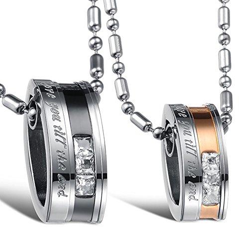 Cupimatch Valentinstagsgeschenk 2PCS Pärchen Kette Herren Damen Edelstahl Ringe Zirkonia Anhänger Paar Halskette mit Gravur, Weihnachten 55 cm, 50cm Kette