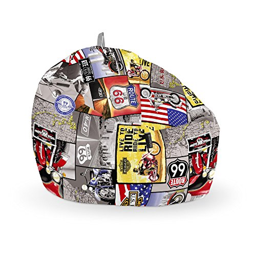 HAPPERS Puff Pelota Estampado Ruta 66