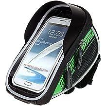 Bolsa bicicleta Impermeable Bolsa Funda Móvil de Bici Bolso del tubo Pantalla PVC Transparente para Manillar de Bicicleta para teléfono 5.5 inches (Verde)