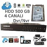 Shopweb.-Videosorveglianza DVR/NVR 4 Canali Ibrido.-Himax D1 (720x480) - HARD DISK 500GB Cloud Service. Auto-configurante Digitale Network Standalone H.264 HDMI.- Manuale Italiano.- Assistenza telefonica configurazione.- immagine
