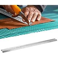 Regla de corte, 300 mm/450 mm Regla de corte tipo M Herramienta de medición de acero inoxidable Accesorio de hardware Escala transparente para diseño a mano Ingeniero diseñador de dibujos(450mm)