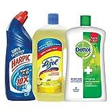 #5: Harpic All in 1 Powerplus - 1 L (Rose) with Lizol Disinfectant Floor Cleaner - 975 ml (Citrus) and Dettol Liquid Soap Jar Original - 900 ml