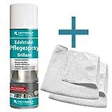 HOTREGA Edelstahl Pflegespray Brillant 500 ml SET + 2x Microfasertuch 40 x 40 cm