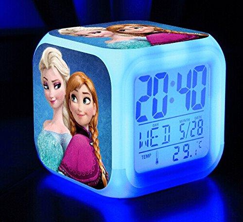 Reloj despertador y lámpara de noche con pantalla LCD fluorescente, iluminación LED, diseño de cubo y Frozen: El reino del hielo