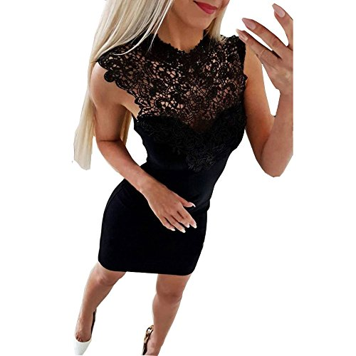 Abendkleider Elegant für Hochzeit,Sunday Damen Spitzenkleid Vintage Bodycon Kleid Ärmellose Ballkleid Minikleid Retro Prinzessin Kleid Chiffon Kleid (L, Schwarz) (Langarm Vintage-hochzeits-kleid)